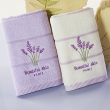 4-Pieces Embroidery Lavender Cotton Towel Set Face Towels For Adults Washcloths High Absorbent Antibacterial 34x76cm