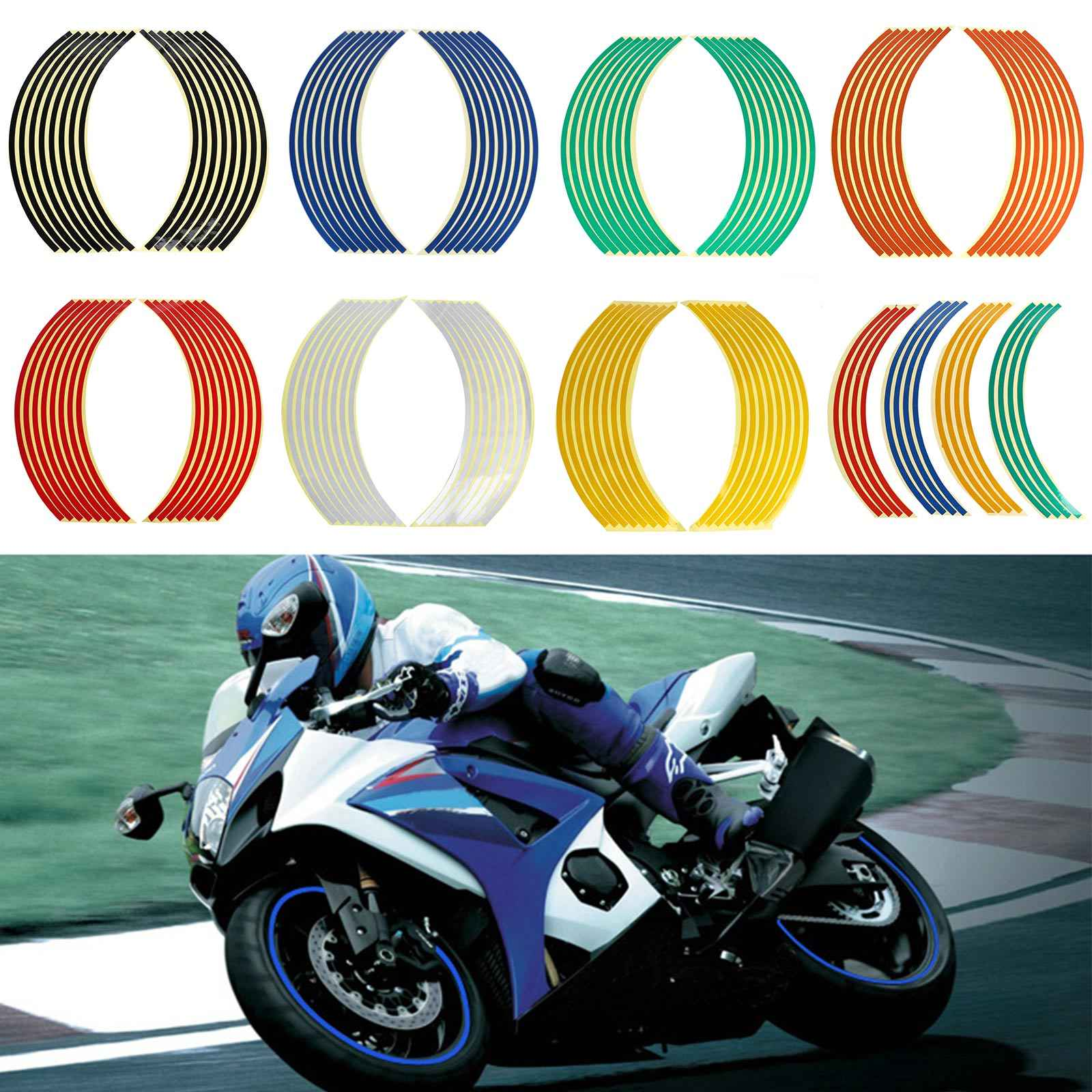 Universal Motorcycle Wheel Sticker Bike 18 Wheel Tire Rim Stripe Sticker Reflective Decals For Honda Suzuki Yamaha Harley