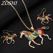 ZOSHI Colorful Enamel Horse Jewelry Sets For Girls Animal Horse Pendant Necklace Earring Set Unique Ethnic Jewelry