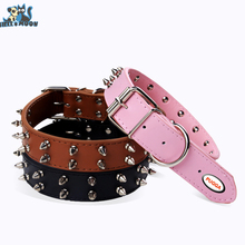 HELLOMOON Large Adjustable  Pet Dog Collar  Leather Spiked Dog Collars Big Pet Products