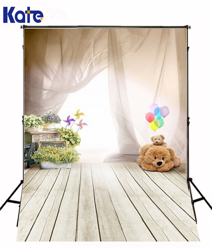 150X200Cm Photography Backdrops Ballon Bear Wood Floor Children Wooden Floor Viny 5X6.5Ft Background Photo Studio Photography<br>