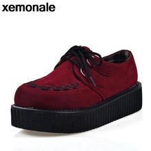 Women Creepers Shoes 2016 Platform Flats British Style Thick Heels Wedges Lace-up Suede Shoes Woman Wine Red/Black 35-39 XJL108