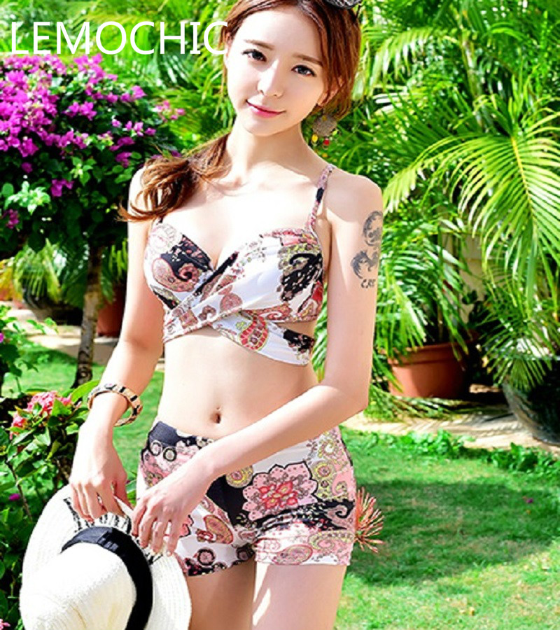 Bikini spa Three Piece high quality  Swimsuit Cover belly conservative boxer small chest thin loverssuits gather steel support<br><br>Aliexpress