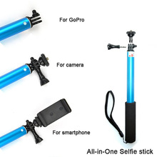 New for Gopro Aluminum Extendable Pole Telescoping Handheld Monopod with Mount Adapter for GoPro Hero 4 3 for Yi Camera  Blue