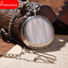 Key Chain Silver Full Hunter Steampunk Roman Numbers Mechanical Pocket Watch Hand Winding Vintage Army Fashion Suits Men Watch