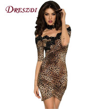 Sexy Vintage Lace Embroidery Women Bodycon Synthetic Leather PU Dress Half Sleeve Leopard Print Club Dress Cocktail Party Wear