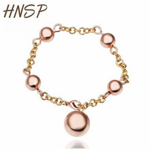 HNSP High quality Metal ball Rose gold color Charm Bracelets For Women New fashion Female Jewelry B044