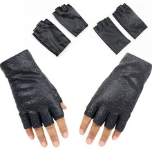 Fashion Female Thin Breathable PU Leather Punk Dance Gloves Women Half Finger Driving Gloves Fingerless Nightclub Show Glove L68(China)