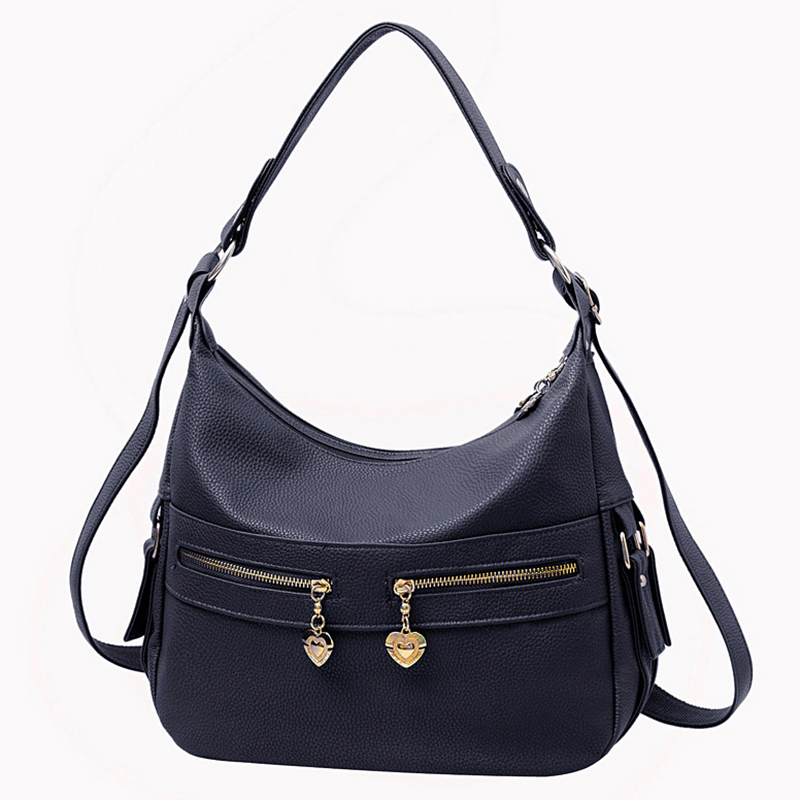 2017 Double Zipper Women Shoulder Bags Hobos De Las Mujeres De Moda Bolso PU Leather Woman Handbags Black Crossbody Bag Bolsos<br><br>Aliexpress
