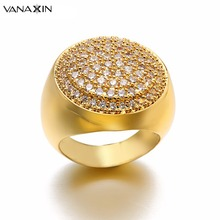 VANAXIN Crystal Women&Men Rings Ice Out Punk Victoria Wieck Fashion Rose Gold White Wide Jewelry CZ Engagement Party Ring Box