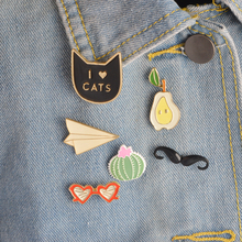 6pcs/set I love CATS Moustache Oear Cactus Origami Plane Heart Sunglasses Brooch Denim Jacket Pin Shirt Badge Fashion Gift