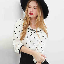 New Real None Blouse European And American Heart Ladies Fan Hit Color Printing Edging Doll Collar Sleeve Chiffon Shirt Y1223-58E