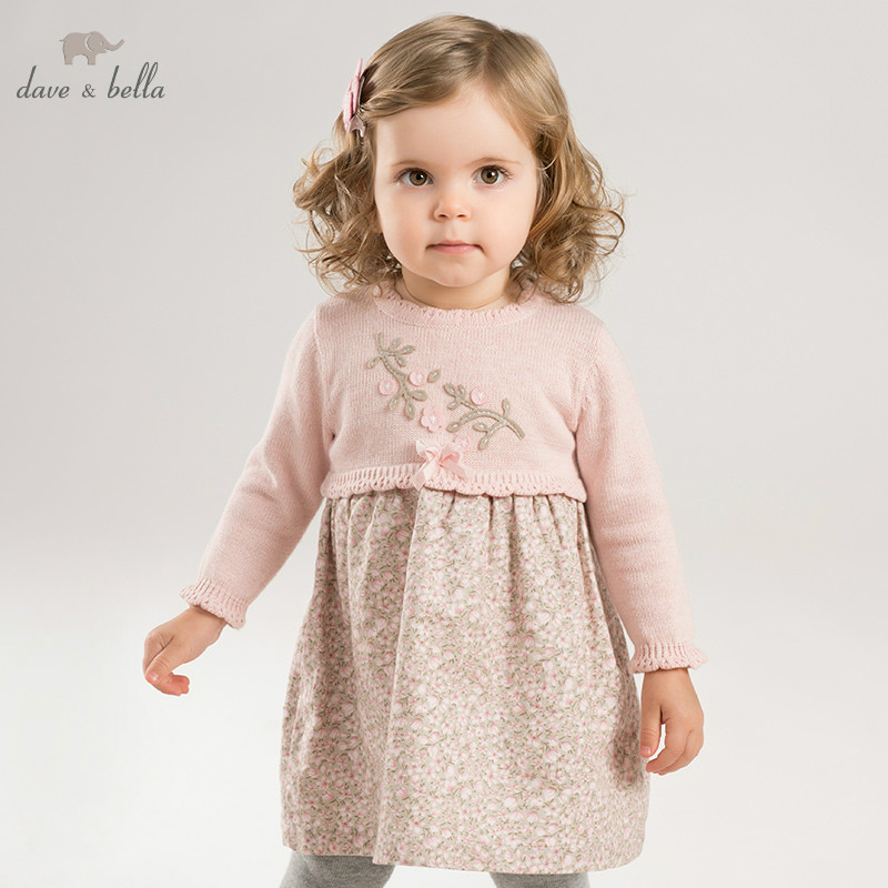 Dave bella baby autumn Knitted Dress girls pink floral long sleeve dress children party birthday costumes DB8436