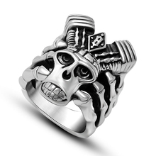 Punk Biker Heavy Leading piston sale 316L stainless steel ring vintage men jewelry wholesale Fast shipping STR-Y601015(China)