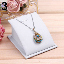 Soft Velvet Jewelry Necklace Pendant Drop Chain Display Holder Standing Stand