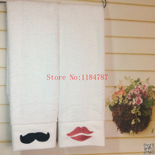 Patterned Face Towel Thickening 150g 16s Cotton Embroidered Lovers Towel Beard&Kiss Towel Bathroom for Adults,Valentines Gift(China)
