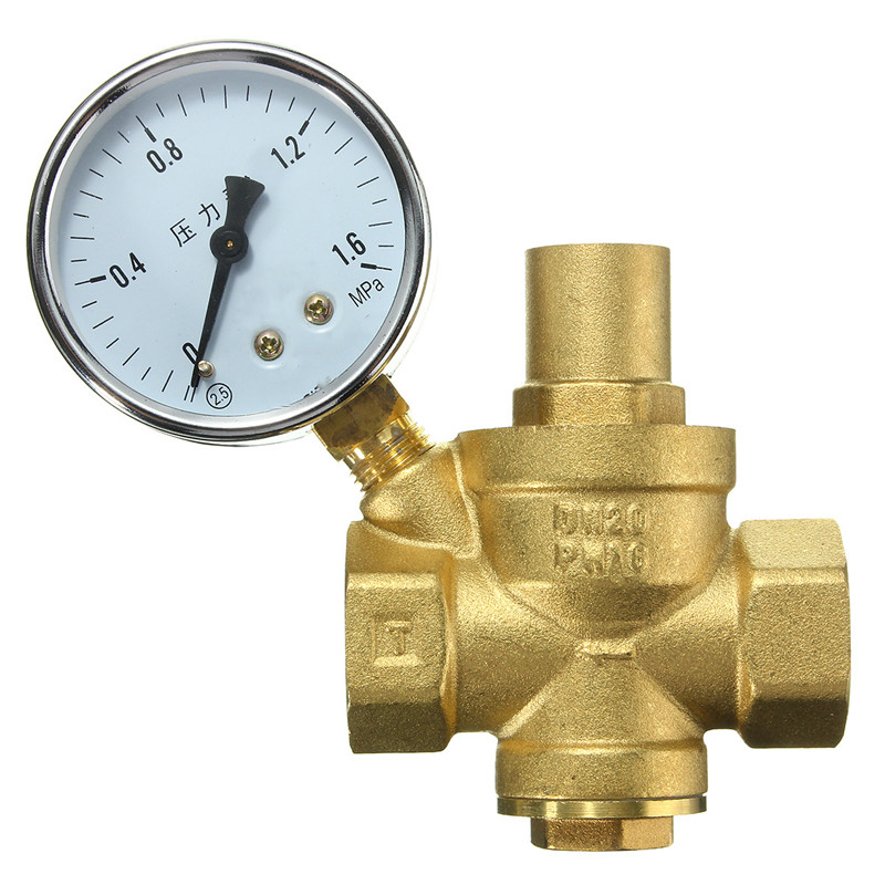 DN20 3/4 Brass Water Pressure Regulator Valves With Pressure Gauge Pressure Maintaining Valve Water Pressure Reducing Valve Prv<br><br>Aliexpress