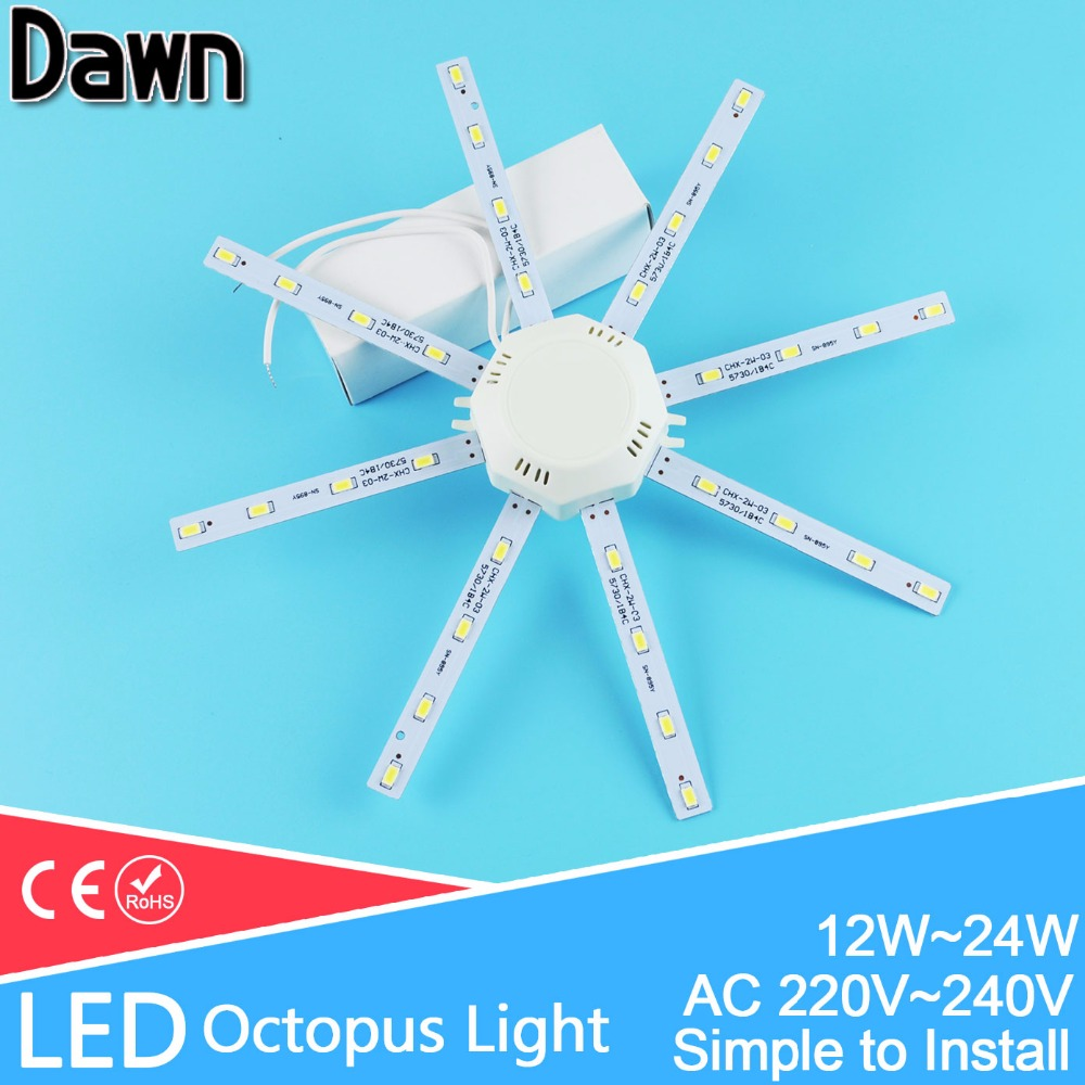 Modified LED light board LED Celling Lamp Accessory5730SMD 12W/16W/20W/24W high bright octopus Round kitchen lamp bedroom Tube(China)