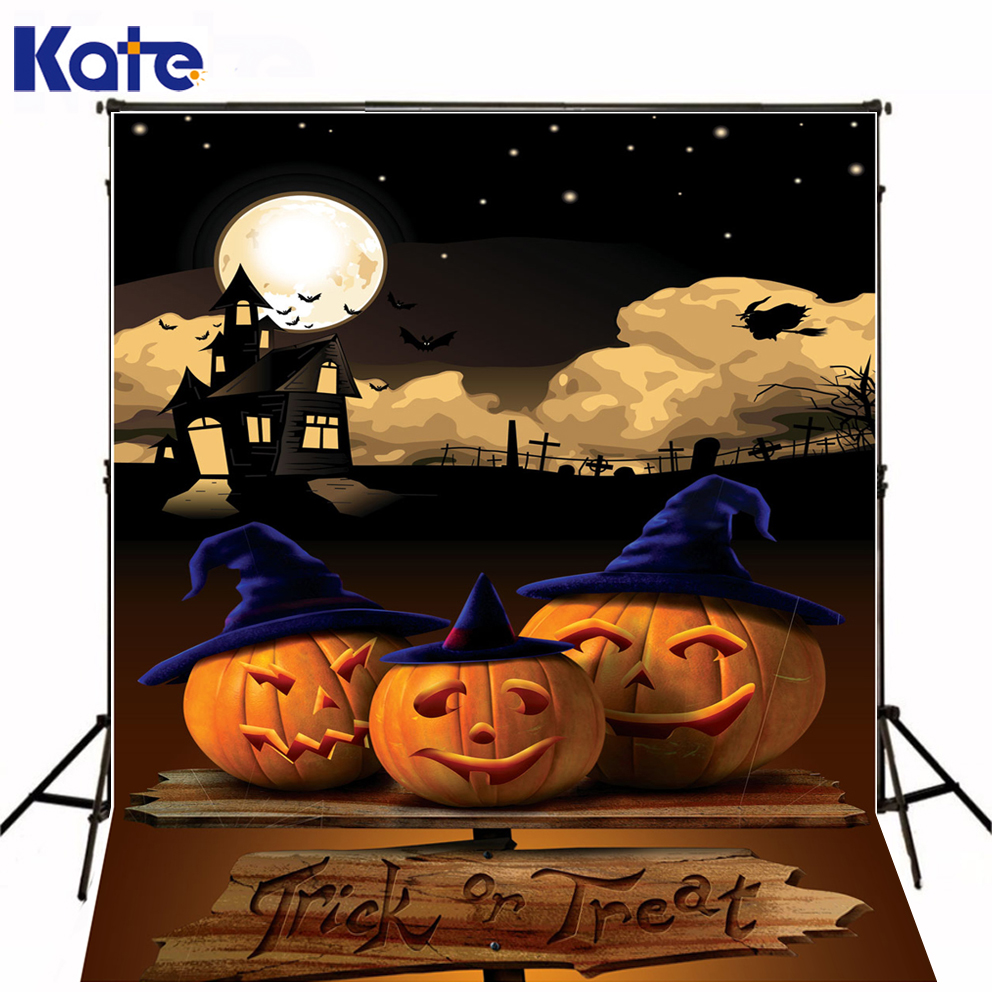 Penteadeira Wood Trick Or Treat Night Photo Studio Backdrop Three Pumpkin  Kate Background Backdrop<br>