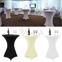 White/Black/Ivory 60cm/80cm Lycra Stretch Spandex Table Cloth For Event Party Cocktail Dry Bar Round Wedding Table Decor