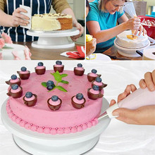 TTLIFE New DIY Cakes Decoration Turntable Manually Rotating Round Shaped Cake Stand Cake Mounting Pattern Tool