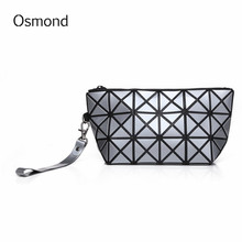 Osmond Cosmetic Bag 2017 Makeup Bag Geometric Diamond Lattice Zipper Makeup Organizer Travel Toiletry Bag Cosmetic Pouch Storag