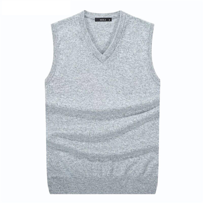 4Colors Men Sleeveless Sweater Vest Autumn Spring 100% Cotton Knitted Vest Sweater Basic Male Classic V neck Tops 2018 New M-3XL-02