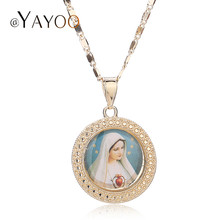 Jesus Necklace Women Men Cross Beads Jewelry Trendy Gold Color Pendant For Vintage Statement Holiday Accessories(China)