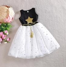 Children Girl Clothing Set Sleeveless Dress Stars TuTu Party Dress  For 2-11 Year Girl,J515