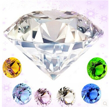 25pc Mixed Colors Diamond 20mm Paperweights Wedding Crystal Cut Glass Home Decor Gifts