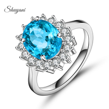 Fashion Brand Luxury 925 Sterling Silver Ellipse Sunflower Rings With Rhinestone Jewelry Wedding Women