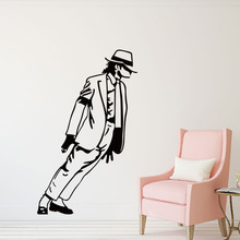 Black Michael Jackson Pattern wall stickers living bedroom decoration diy vinyl decals mual art poster 33x54cm CP0393