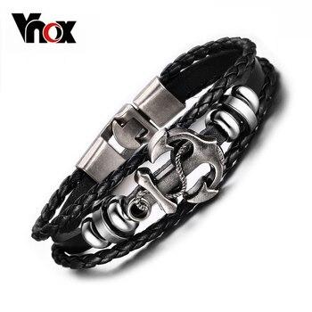 Vnox âncora do vintage pulseira de couro preto charme pulseiras homens jóias presente do partido