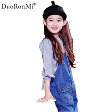 DuoRonMi Autumn Baby Girls Strap Bib Denim Trousers Children Jeans Cotton Casual Pattern Suspenders Jeans Kids Overall Pants