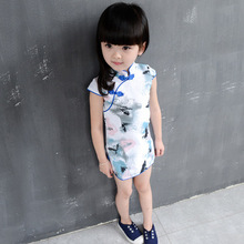 Children's clothing summer models Chinese style Cotton and linen flowers Stand collar cheongsam Children's short-sleeved dress