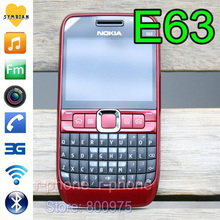 100% Original NOKIA E63 Mobile Phone 3G Wifi Bluetooth QWERTY Keyboard Unlocked E63 RED & One year warranty(China)