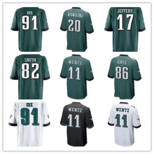 2017 homens Novos do Brian Dawkins Corey Graham Torrey Smith Carson Wentz Alshon Jeffery Fletcher Cox Zach Ertz Águias Jogo jerseys(China)