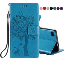 EKONEDA For Huawei P8 Lite Case PU Leather Magnetic Wallet Flip Cover Embossed Tree and Cat Case For Huawei Ascend P8 Case(China)