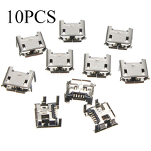 10Pcs High Quality Micro USB Type B 5pin Female Socket 4 Vertical Legs Soldering Connectors For Mobile Phone(China)
