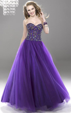 Ball Gown Floor-length Satin Sweetheart Ball Gown Tulle Overlay Prom Dress Quinceanera Dresses Purple Crystal Dress qd0024