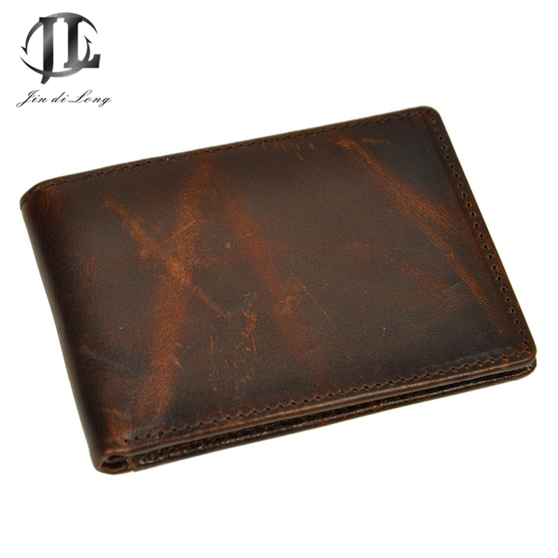High 2016 high Quality Vintage Real Crazy Horse Leather Men Wallets Cowhide Genuine Leather Purse Card Holder<br><br>Aliexpress