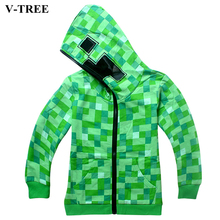 V-TREE Spring Autumn Children's Jackets Minecraft Hoodies Jacket For Teenage Boy Girls Coat Kids Outerwear Teen Zipper Clothes