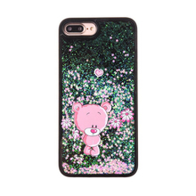 2017 Fashion cartoon flare sequin bright glitter quicksand diamond pink bear love cherry flower pc cell phones case For Iphone
