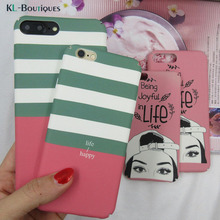 KL-BOUTiQUES Simple Stripes Case for iphone 6 Cases for Coque iphone 7 6 6S Plus Cover With a Hat Woman Plastic Capa Phone Bag