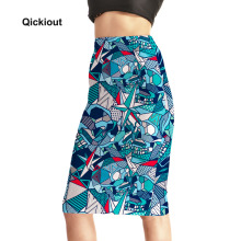 Qickitout Skirts Fitness New Women's Sexy Skirts Blue Geometric Polygon Icicles High Waist Package Hip Skirt Saia Midi Plus Size
