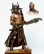 Free Shipping 1/24 Scale 7.5cm Unpainted Resin Figure Barbarian male warrior 2 heads collection figure