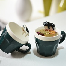 2pc/lot Valentines Gift Creative fashion 300MLcup ceramic 3d cat mug cartoon birthday married mug water cup lovers cup(China)