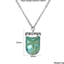 2017 Pendant Necklace for Women  Vintage Jewelry Summer Sea Ocean Series Glass Bottle with Natural Starfish Choker