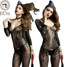 Buy Lechee Q814 Women sexy lingerie Perspective Open Crotch Bodystocking Sex Bodysuit Catsuit Fish Erotic underwear Porno costumes