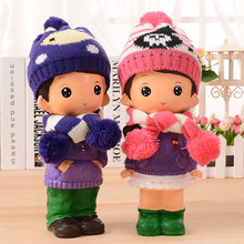 Cute Cartoon Baby Money Box with Hat&Scarf Doll cofre Kids Toy Piggy Bank Decorative Home Crafts Saving Coin Box Lover Gift
